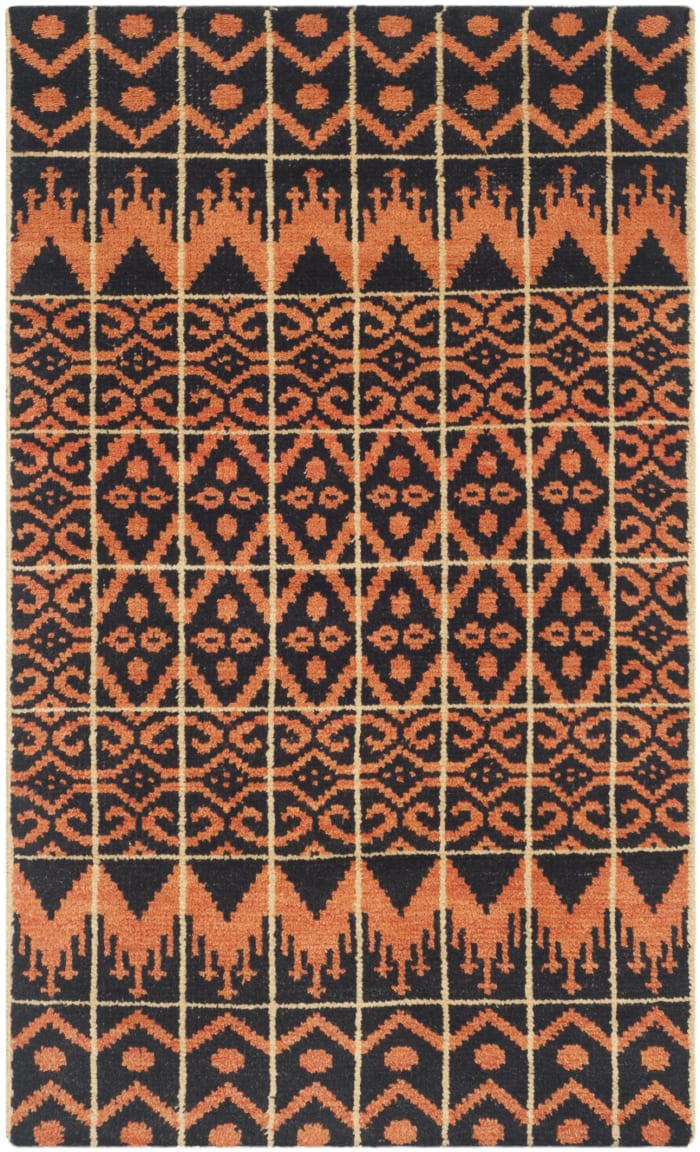 Orange Wool Rug 2' x 3'