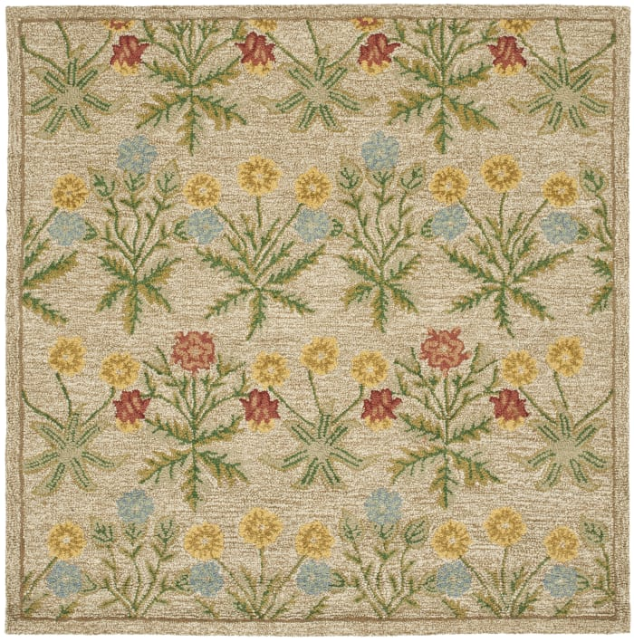 Square Tan Wool Rug 6' x 6'