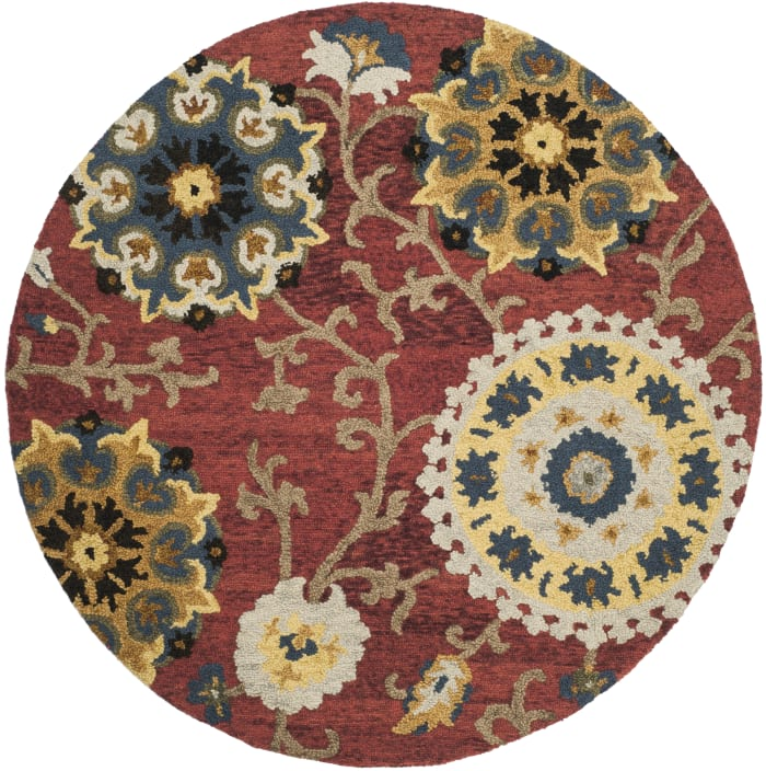 Red Wool Rug 6' Round