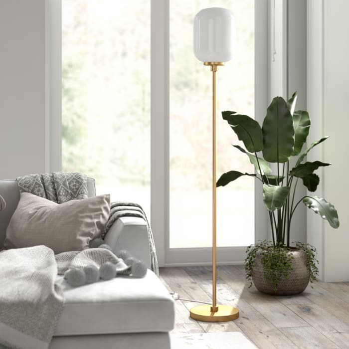 AppleTree Floor Lamp in Brass with Milk Glass Shade