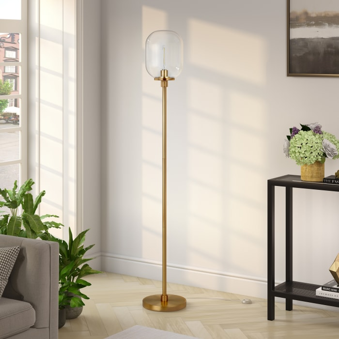 Agnolo Brass Floor Lamp with Clear Glass Shade
