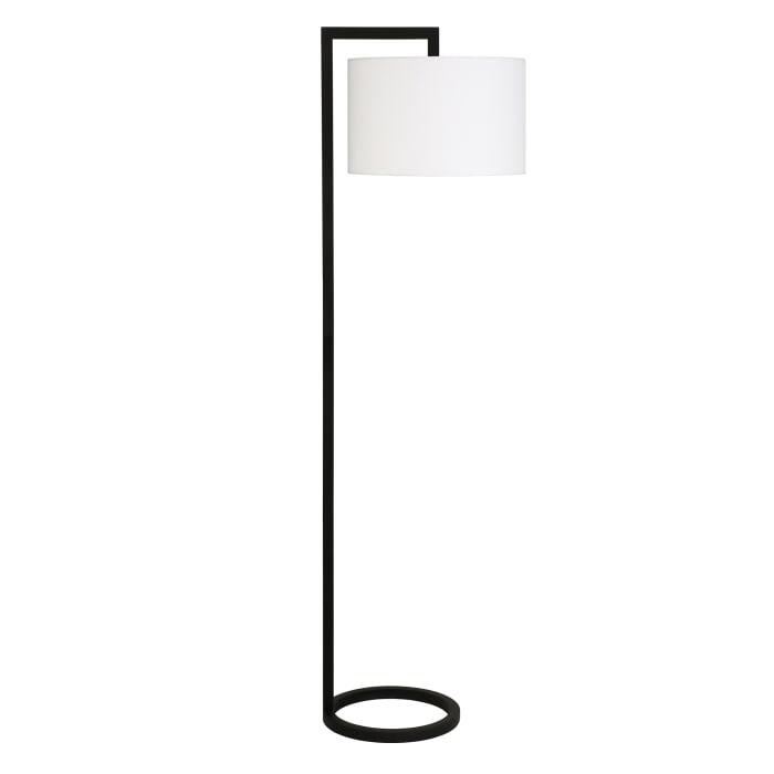 Blackened Bronze Floor Lamp with Round Shade