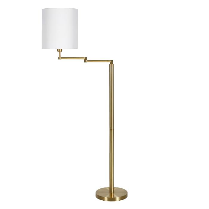 Swing Arm Floor Lamp in Brass Drum Shade