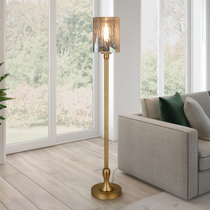 Numit Brass Floor Lamp with Mercury Glass Shade