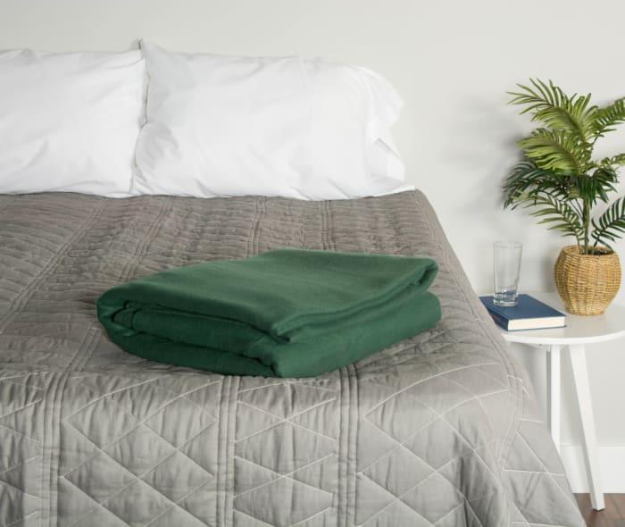 Dark Green Fleece Blanket Full/Queen 90x90