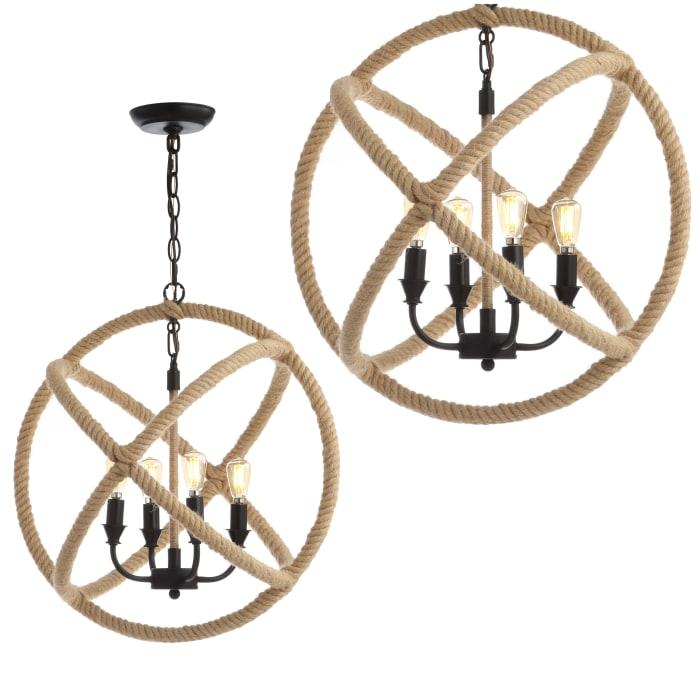 4-Light Adjustable Globe Metal/Rope LED Chandelier, Black/Brown