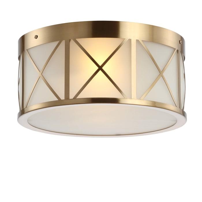 Drum Metal/Glass Flush Mount, Brass Gold