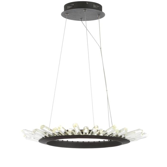 Adjustable Integrated LED Modern Crystal Pendant, Black/Clear