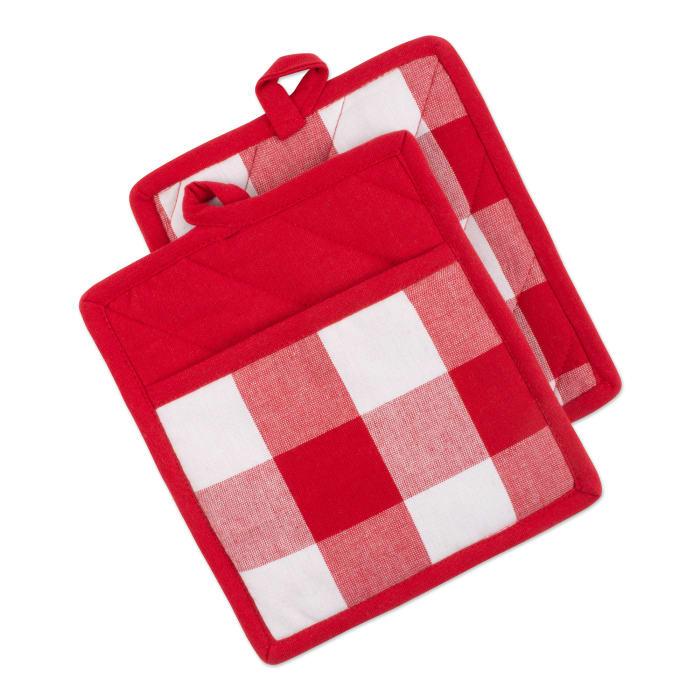 Red & White Buffalo Check Potholder (Set of 2)