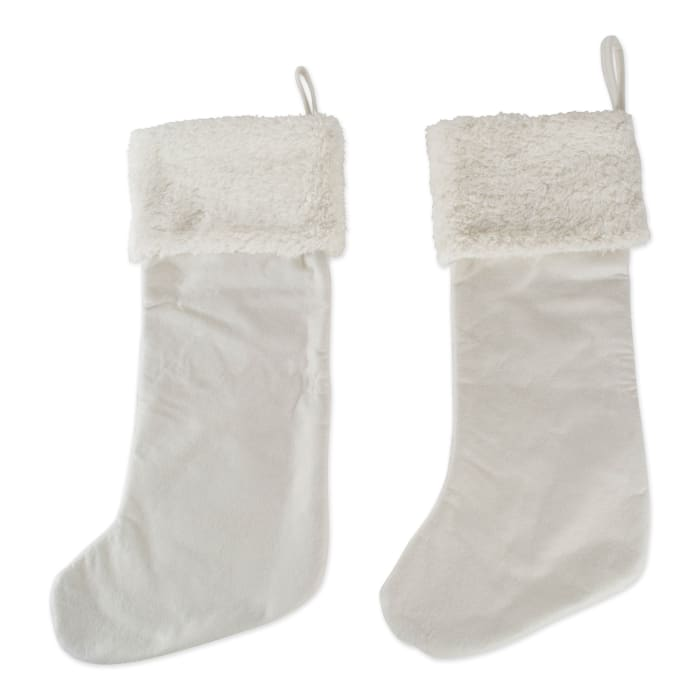 Cream Diamond Quilted Holiday Stocking With Fur Cuff (Set of 2)