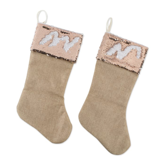 Holiday Stocking Linen With Champagne Sequin Border(Set of ...