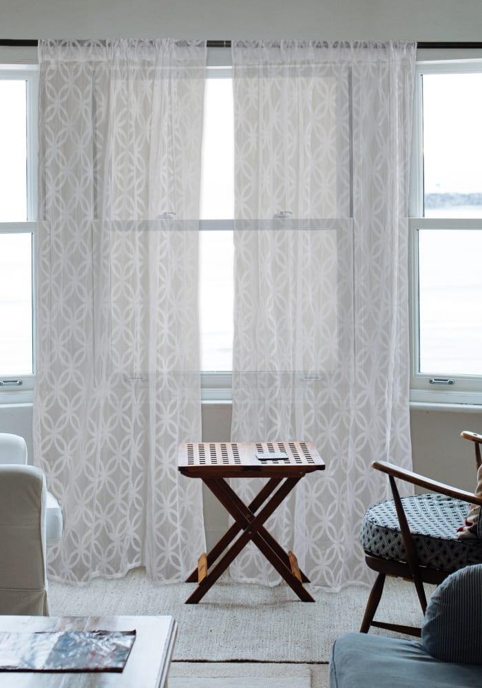 White Lace Lattice Window Curtain 50x108 Set/2