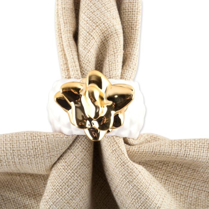 Set of 4 Gold Pineapple Napkin Rings