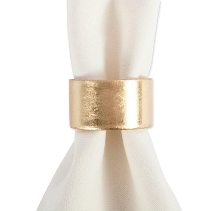 Gold Round Painted Acrylic Napkin Ring Set of 6