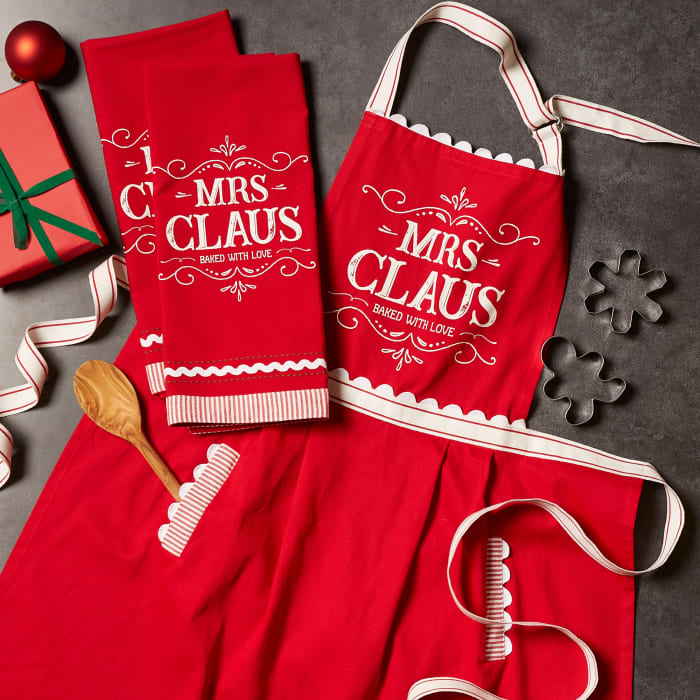 Santa Chef Clause Kitchen, Mrs Claus Chef Kitchen Set, Set of 3