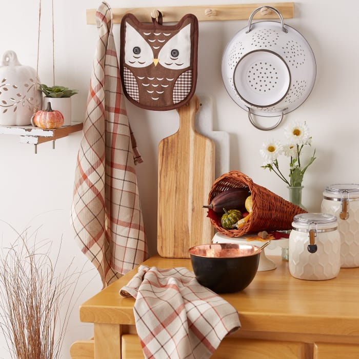 Thanksgiving Holiday Gift Sets, Autumn Owl Potholder Gift Set