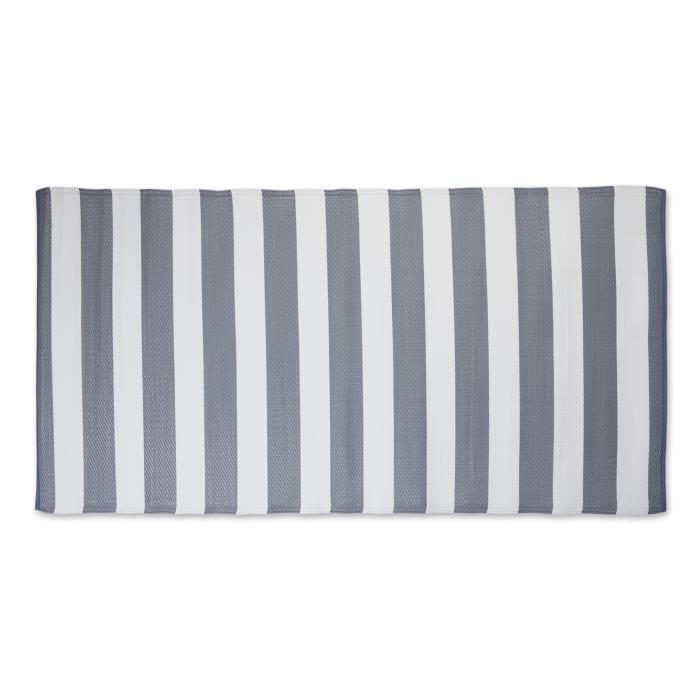 Gray/White Stripe Outdoor Floor Runner 3x6-ft