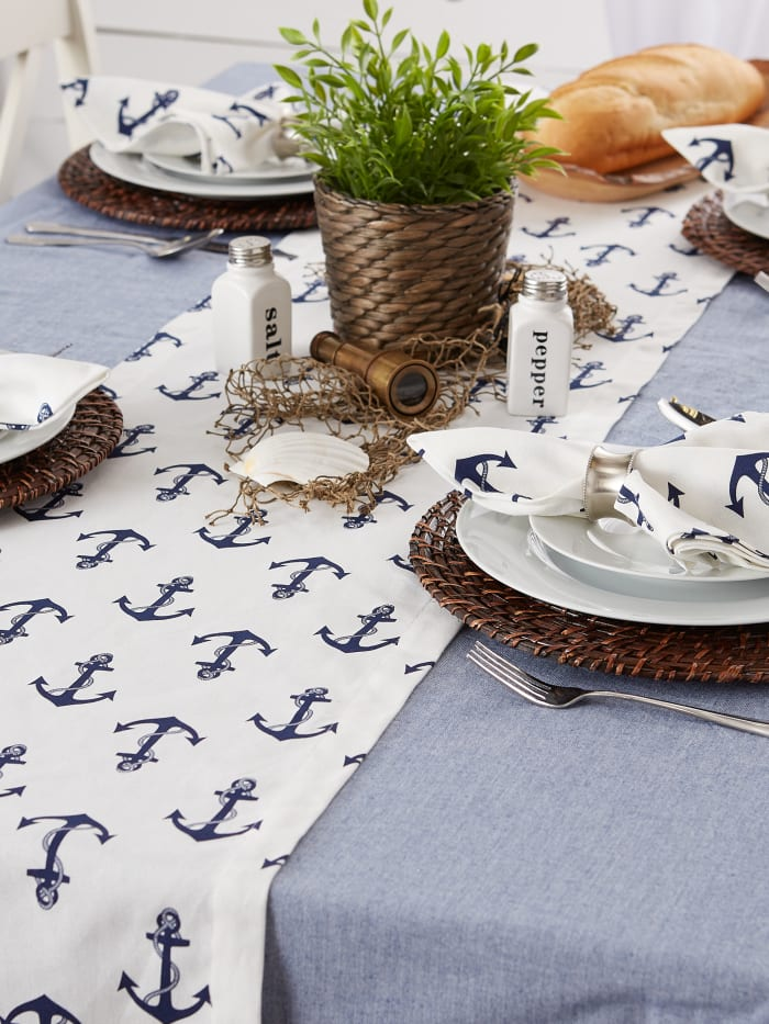 Anchors Away Print Table Runner 14x108