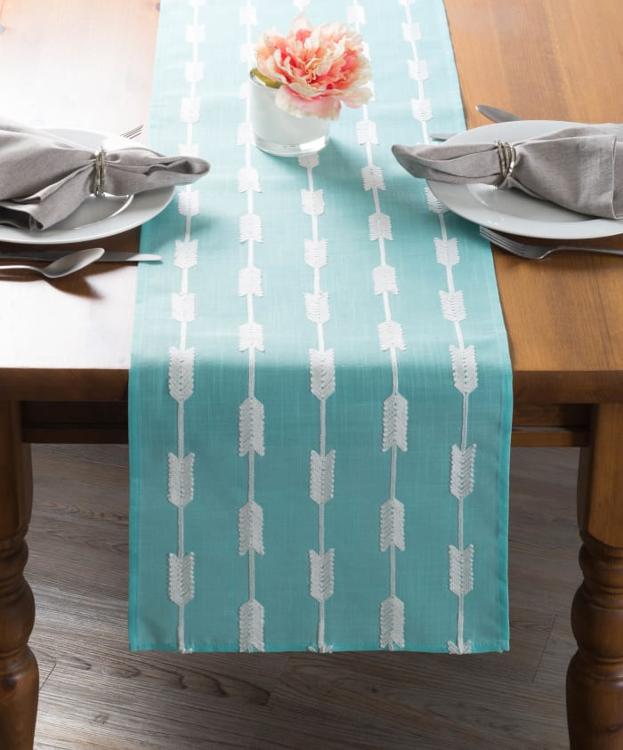 Aqua Base Embroidered Arrow Fletching Table Runner