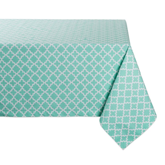 Aqua Lattice Tablecloth 60x104