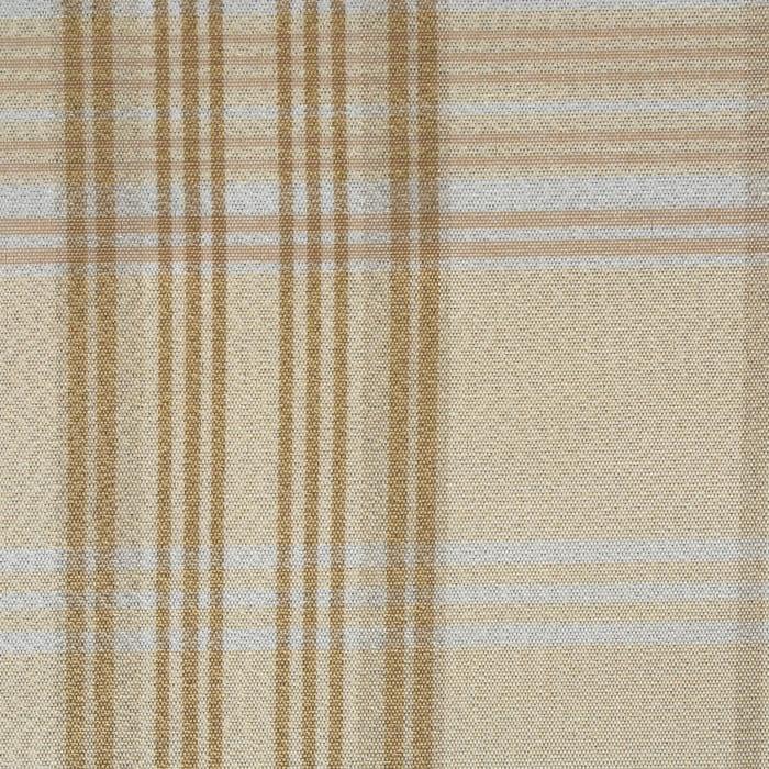 Cream Metallic Plaid Tablecloth 70 Round