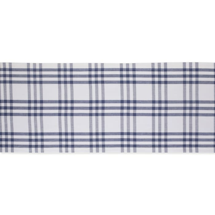 French Blue Farm To Table Check Table Runner 14x108
