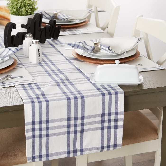 French Blue Farm To Table Check Table Runner 14x72