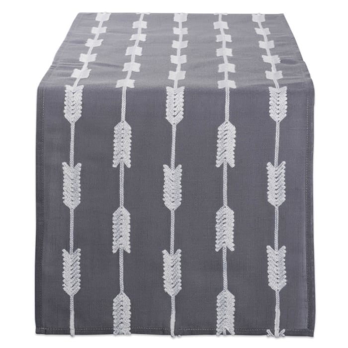 Gray Base Embroidered Arrow Fletching Table Runner