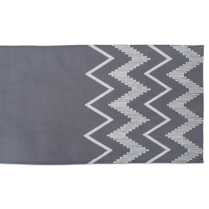 Gray Base Embroidered Chevron Table Runner