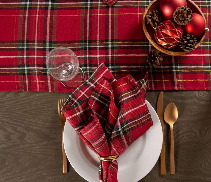Holiday Metallic Plaid Table Runner 14x108