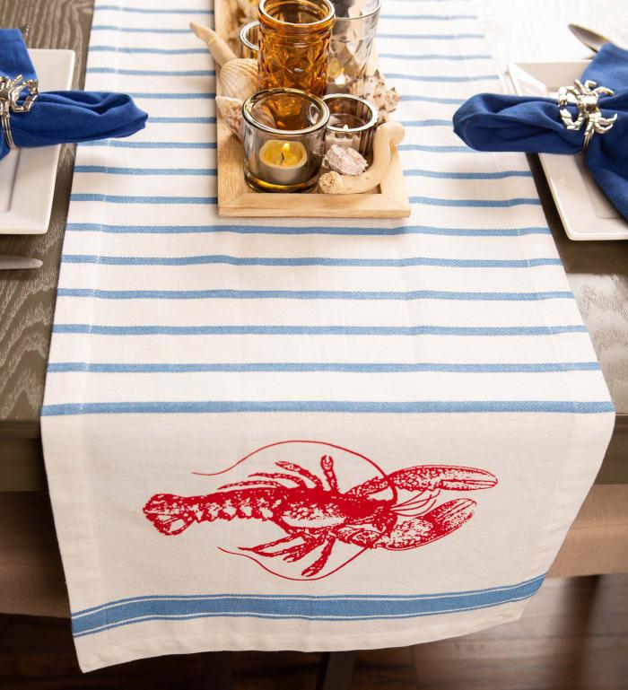 Lobster Stripe Table Runner 14x72