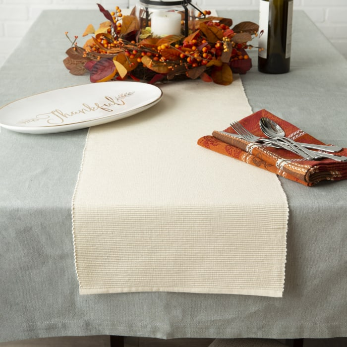 Natural Ribbed Table Runner 13x72