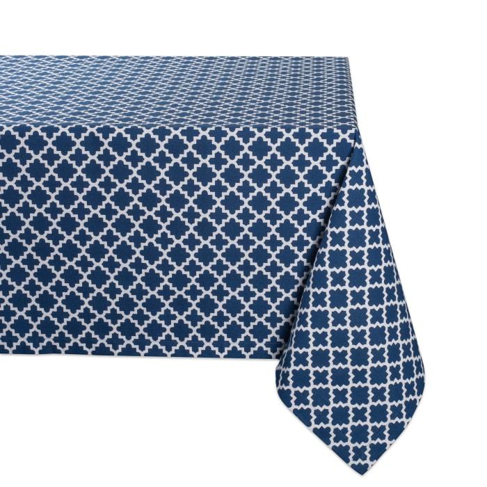Nautical Blue Lattice Tablecloth 60x84