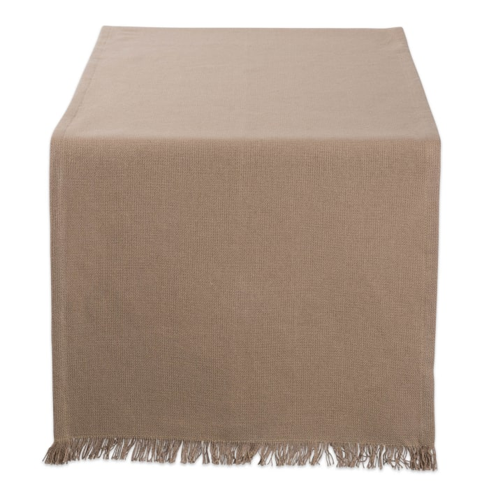 Solid Stone Heavyweight Fringed Table Runner 14x108