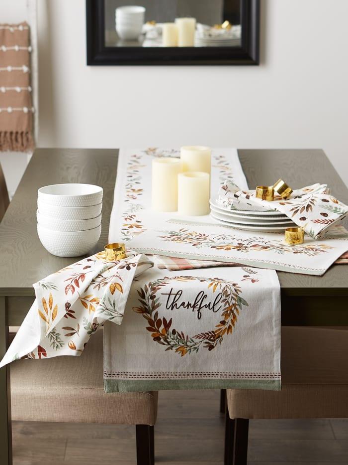 Thanksgiving Thankful Autum, Fall Leaves, Reversable Table Runner 14x108