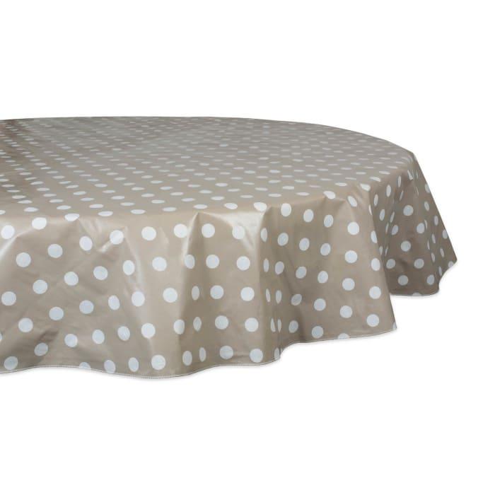 J&M Natural Polka Dot Vinyl Tablecloth 70 Round