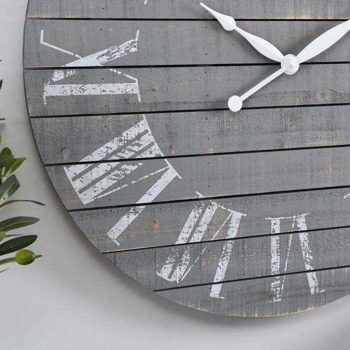 Gray Aranza Shiplap Farmhouse Clock