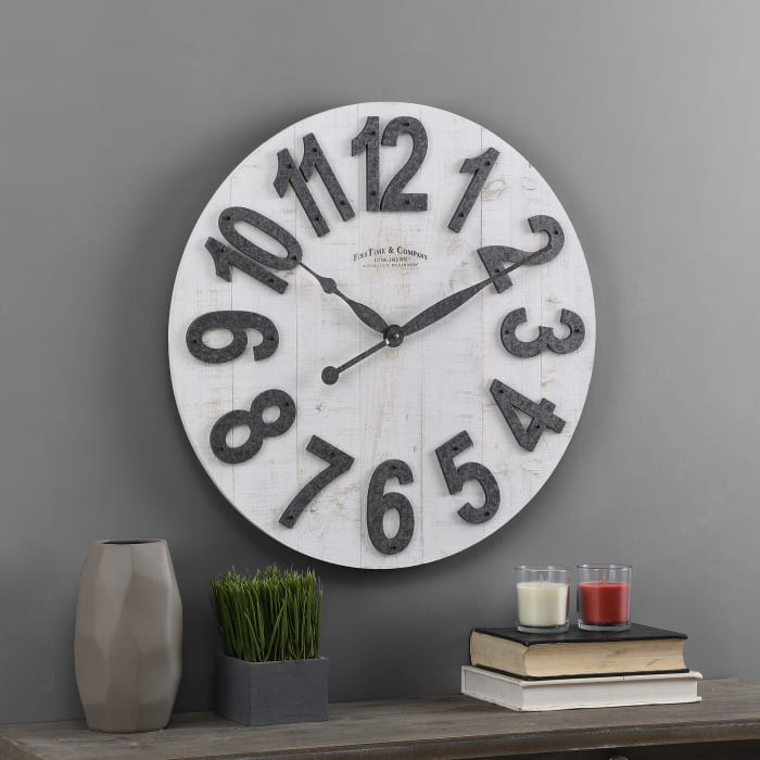 White Slat Wood Farmhouse Clock