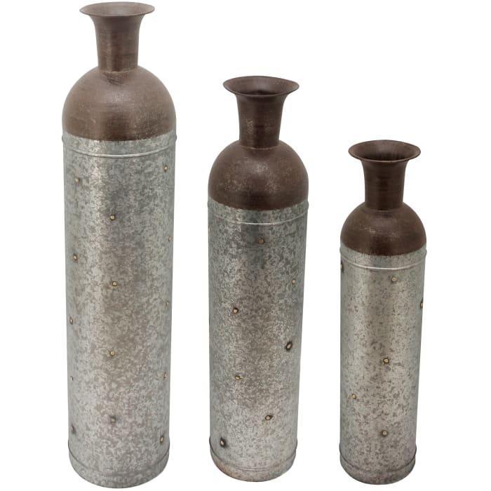 Barnyard Lane Farmhouse Galvanized 3 Vase Set