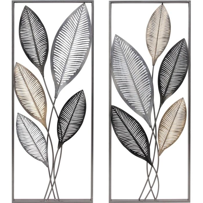 Metallic Leaves Wall Decor Set