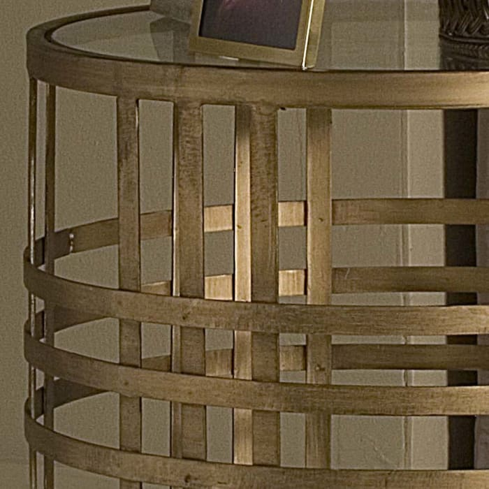 Woven Brass Side Table
