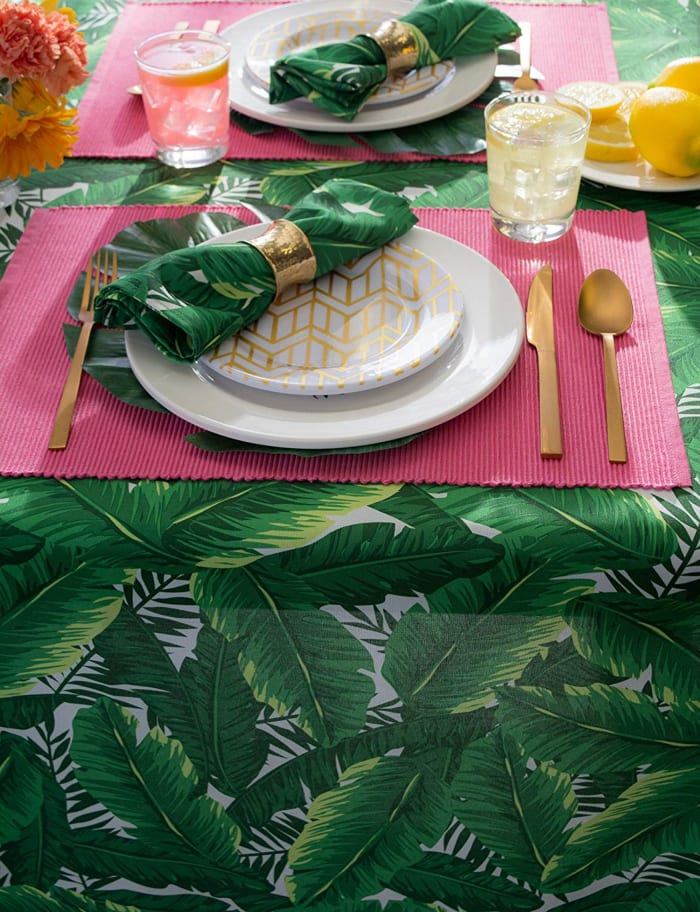 Banana Leaf Outdoor Tablecloth With Zipper 60x120