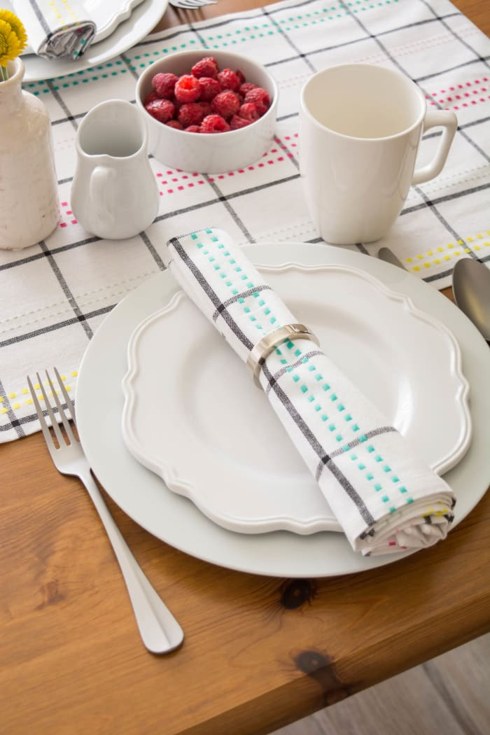 Color Pop Plaid Table Runner 14x72