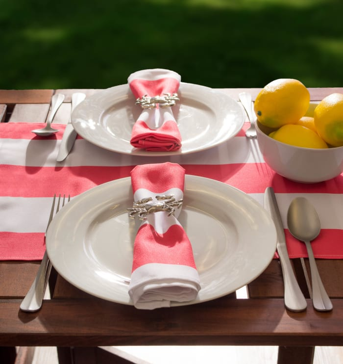 Coral Cabana Stripe Outdoor Table Runner 14x72