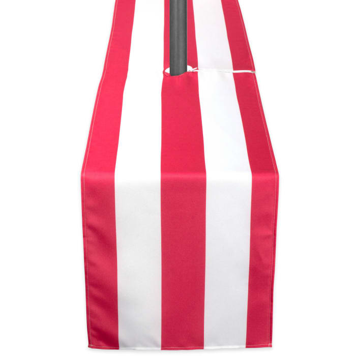 Coral Cabana Stripe Outdoor Table Runner With Zipper 14x72