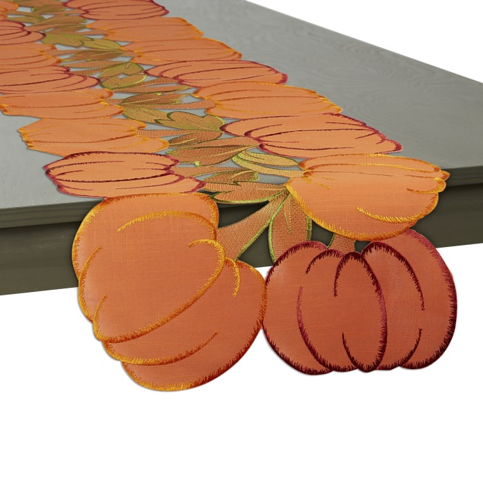 Embroidered Pumpkins Table Runner