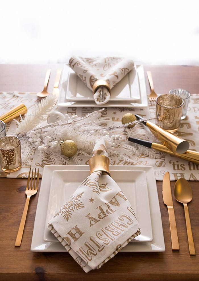 Gold Christmas Collage Table Runner 14x72