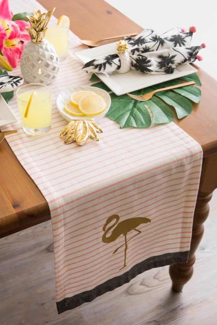 Golden Flamingo Table Runner 14x108