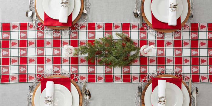 Holiday Trees Woven Check Table Runner 14x72