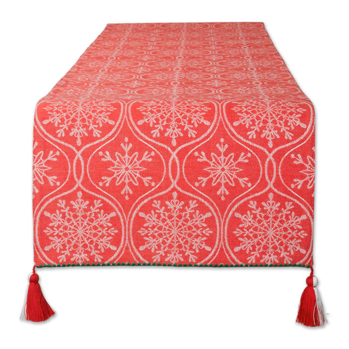 Joyful Snowflakes Jacquard Collection For Everyday Use, Holidays and Dinner Parties, Table Runner, 14x72